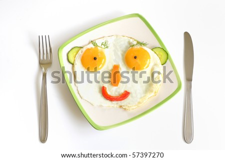 Happy Face Frying Eggs - stock photo