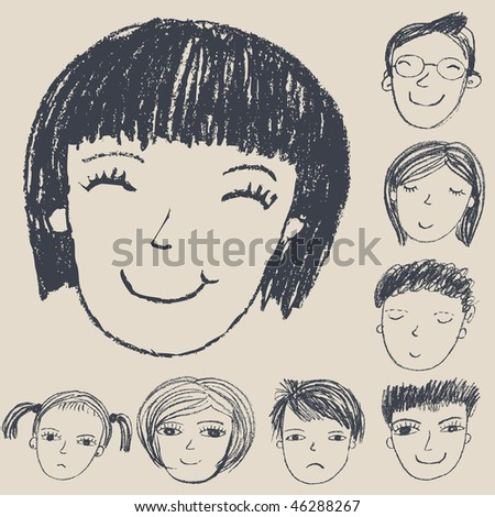 Happy faces - stock photo