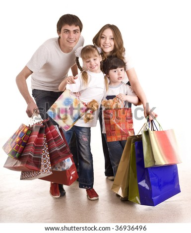 Happy family and children shopping. Isolated. - stock photo