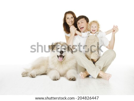 happy family and dog, smiling father mother and laughing baby siting over white background  - stock photo