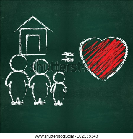 Happy family and heart on blackboard background - stock photo