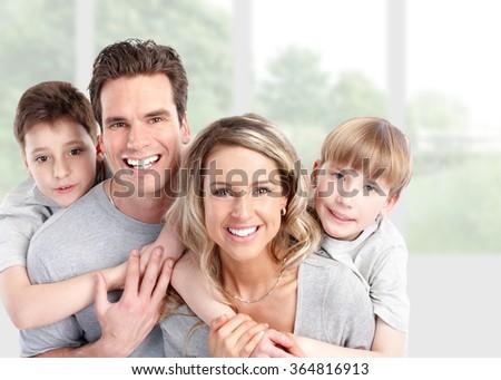 Happy family at home. - stock photo