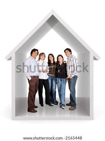 happy family at home over a white background - stock photo
