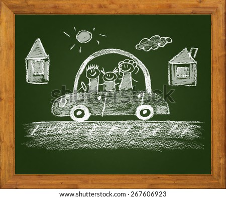 Happy family. Blackboard. Kids drawing - stock photo