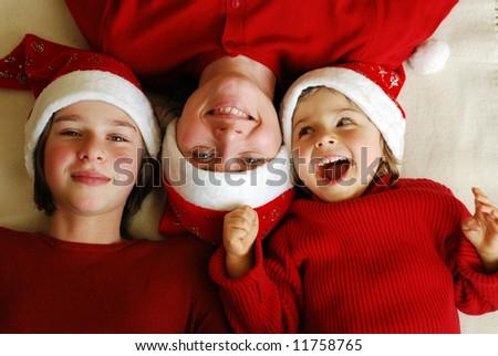 Happy family celebrate Christmas - stock photo