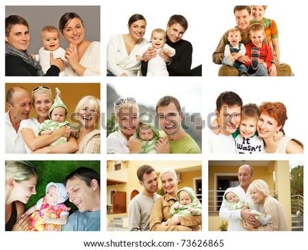 Happy family collage - stock photo