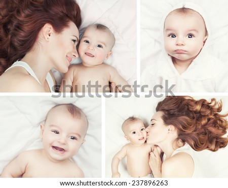 Happy family concept. Collage of young mother and her baby smiling, hugging and kissing over white blanket. - stock photo