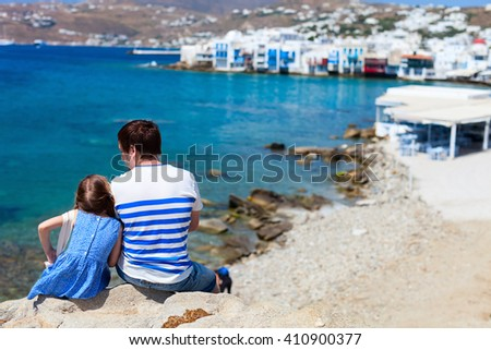 Happy family father and his adorable little daughter on vacation at Mykonos island, Greece - stock photo