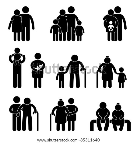 Happy Family Father Mother Grandmother Grandfather Children Son Daughter Baby Infant Toddler Old Man Woman Grandchildren Husband Wife Parent Together Icon Sign Symbol Pictogram - stock photo