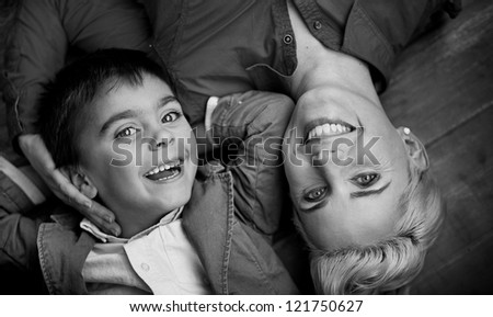 Happy family having fun - stock photo