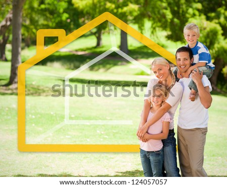 Happy family in the park with orange house illustration - stock photo