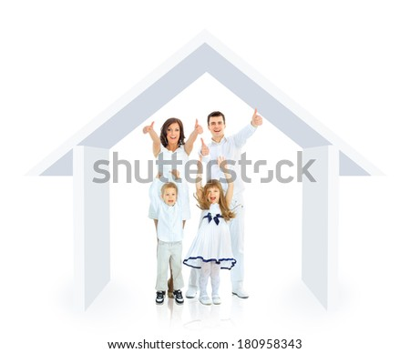 Happy family in their own home concept - stock photo