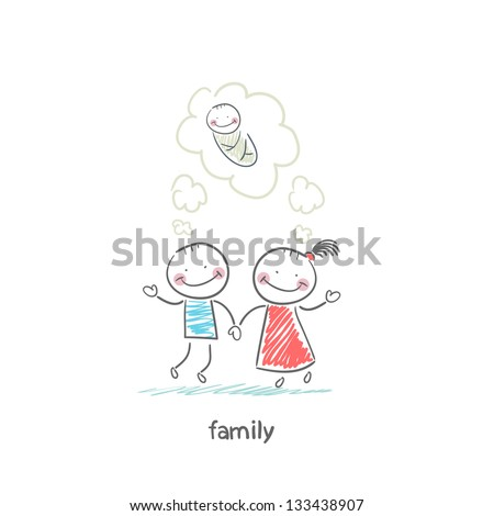 Happy family is waiting for the birth. Illustration. - stock photo