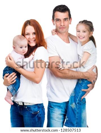happy family isolated on white - stock photo