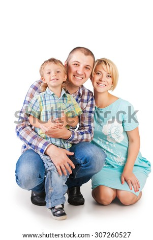Happy family isolated on white - stock photo
