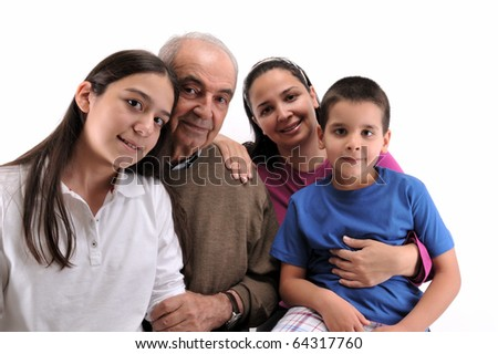 Happy family isolated on white background - a series of HAPPY FAMILY images. - stock photo