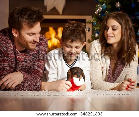 Happy family lying on floor playing with dachshund puppy at christmas time. - stock photo