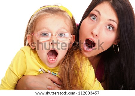 happy family Mom end daughter to be speechless with surprise isolated young screaming woman - stock photo