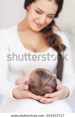 happy family. mother and baby - stock photo