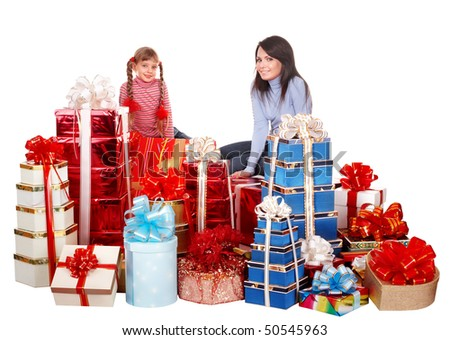 Happy family mother and  child and group gift box. Isolated. - stock photo