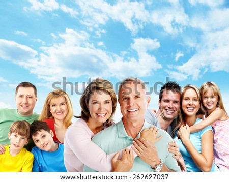 Happy family. Mother father and children portrait. - stock photo