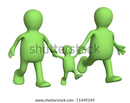 Happy family - mum,  daddy and  child. Objects over white - stock photo