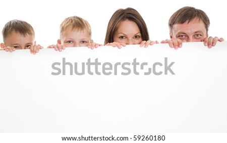 happy family of four together on a white background - stock photo