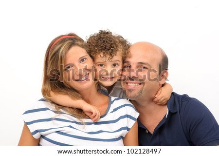 happy family of son, mother and father embraced - stock photo