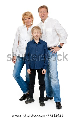 Happy family of three people in the studio, isolate on white - stock photo