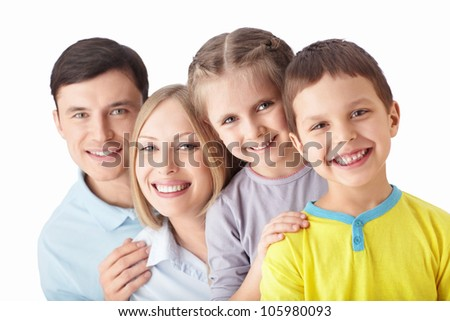 Happy family on a white background - stock photo