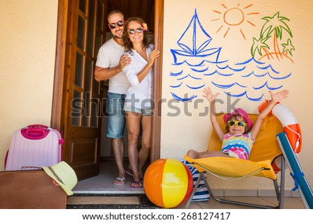 Happy family on summer vacation. Travel and adventure concept - stock photo
