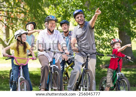 Happy family on their bike at the park on a sunny day - stock photo