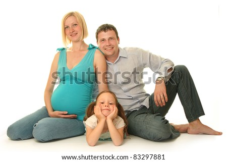 happy family on white background - stock photo