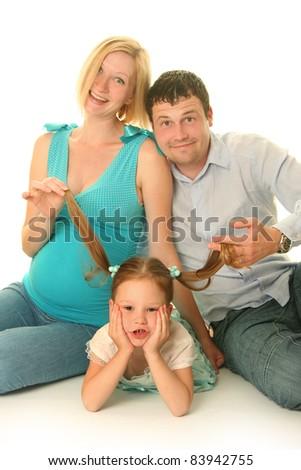 happy family on white background - stock photo