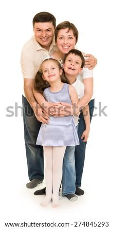 happy family on white isolated - stock photo