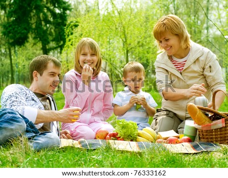 Happy Family outdoor. Picnic - stock photo