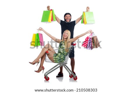 Happy family pair of wife and husband after shopping - stock photo