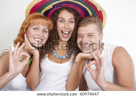 Happy family, parents with their grown-up daughter. - stock photo
