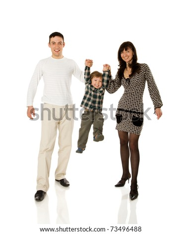 Happy Family playing with kid together isolated on white - stock photo