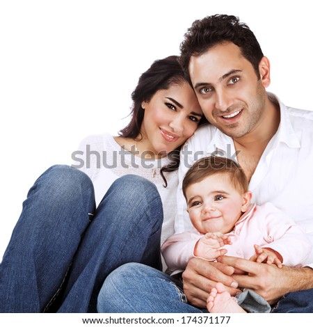 Happy family portrait isolated on white background, baby girl with young beautiful parents, healthy lifestyle, love and happiness concept - stock photo