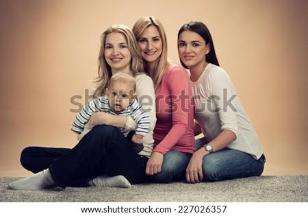 Happy family posing. - stock photo