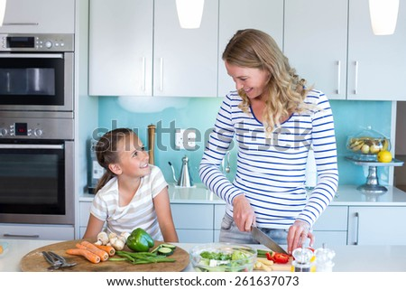 Happy family preparing lunch together at home in the kitchen - stock photo