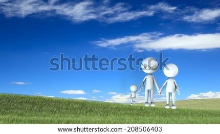 happy family scene  - stock photo