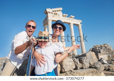 Happy family selfie photo on summer vacation - stock photo