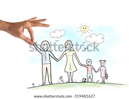 Happy family sketch in a sunny day - stock photo