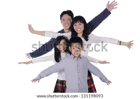 Happy family smiling over white background - stock photo