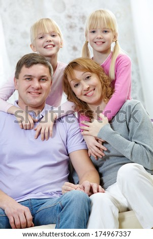 Happy family spend time together at weekend   - stock photo