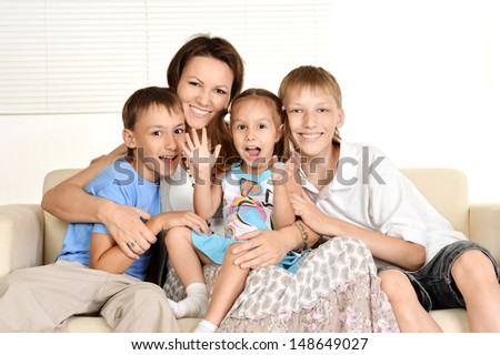 happy family spends time together at home - stock photo