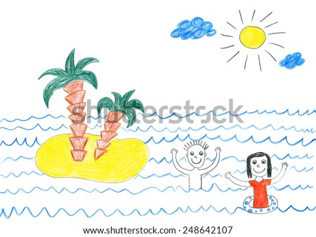 Happy family swimming in sea near small island. Child's drawing. - stock photo