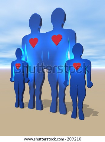 Happy Family. To see the entire series of heart people keyword: heart1people - stock photo